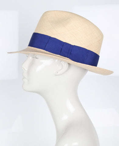 Fedora Hat, Natural/Blue