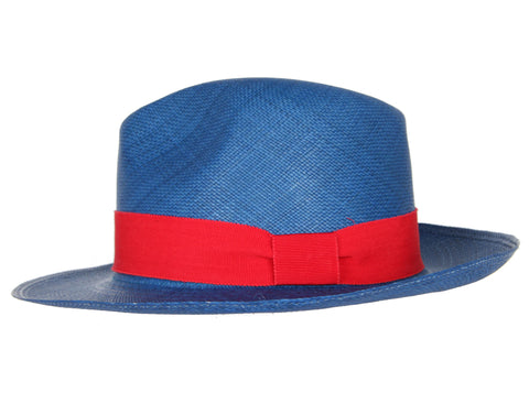 Fedora Hat, Blue/Red