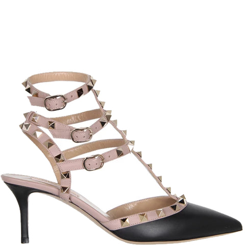 Cage Kitten Heels Vitello, Black