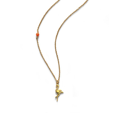 Flamingo Necklace, Gold