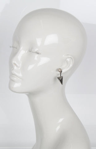 Pearl Earrings w/floating Pyramid, Platinum