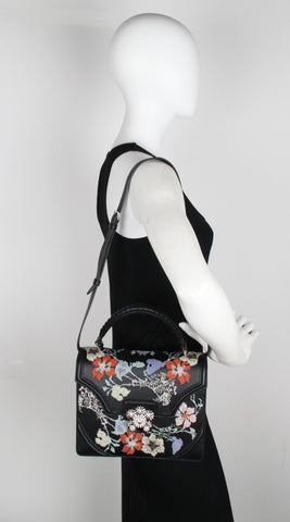 Embroidered Nappa Flower Satchel, Black