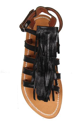 Fregate Fringe Sandals, Black