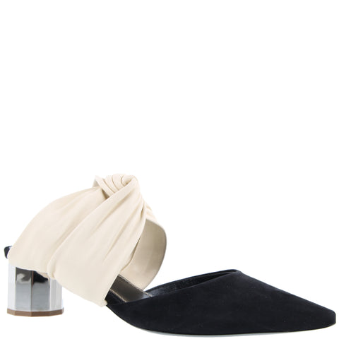 Twisted Block Mule 40 Nappa/Suede, Cream
