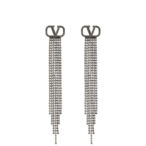 VLogo Long Tassel Earrings, Ruthenium