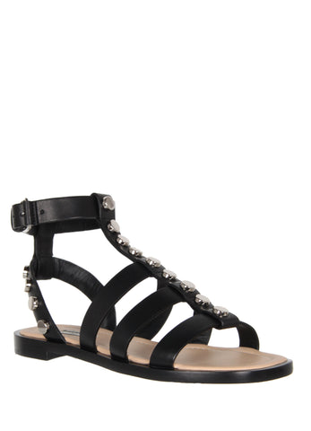 Studded Gladiator Flats, Black