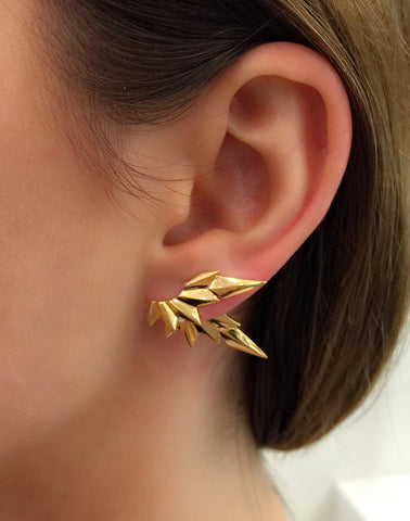 Wing Reverse Earring, High Polish Gold