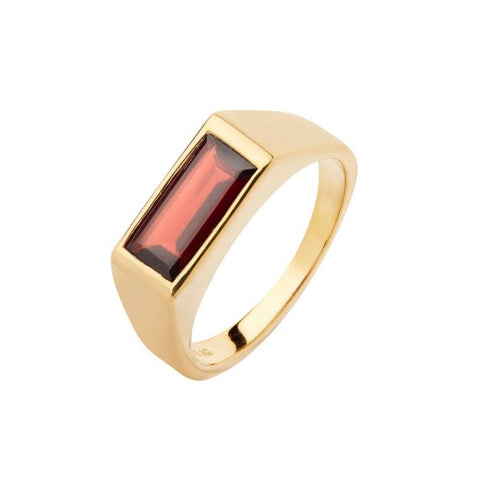 Harald Ring Garnet, High Polished Gold