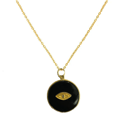 All Seeing Black Round Eye Necklace, Black