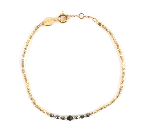 Bead & Gem Bracelet, Black