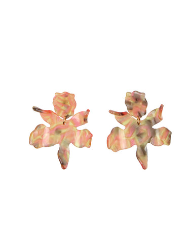 Small Lily Earrings, Peach