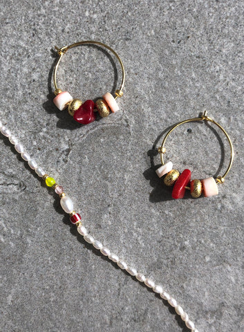 Sweet Little Things Hoops (pair), Salmon