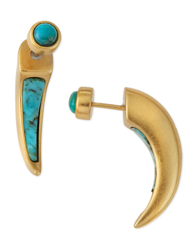Inlay Horn Earrings Gold, Turquoise