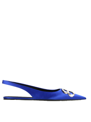 BB Flat Slingback Satin, Electric Blue