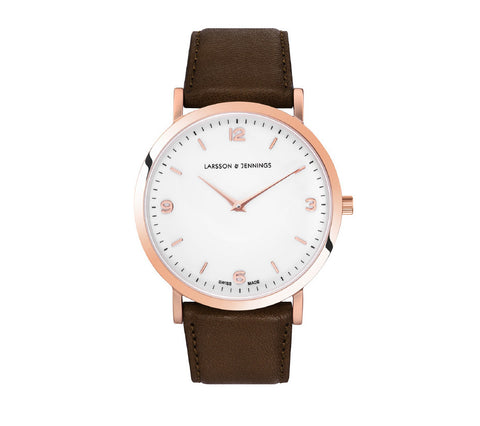Lugano 38mm, Rose Gold Case, Brown Leather