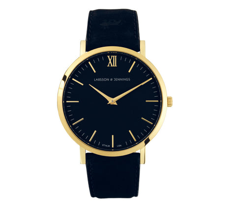 Lugano 40mm, Gold Case,  Black Leather