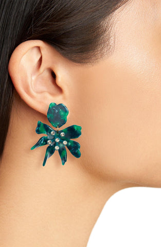 Daffodil Earrings, Emerald