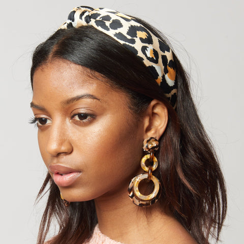 Silk Leopard Knotted Headband, Natural