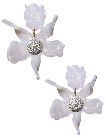 Crystal Lily Earrings (Pierced), Mother of Pearl