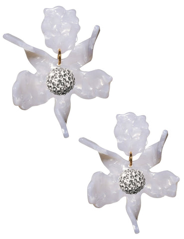 Crystal Lily Clip-on Earrings, Mother of Pearl