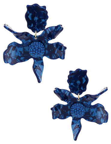 Crystal Lily Earrings, Navy