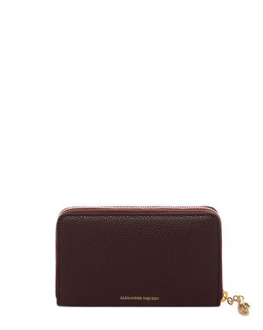 Continental Medium Zip Wallet, Burgundy/Gold