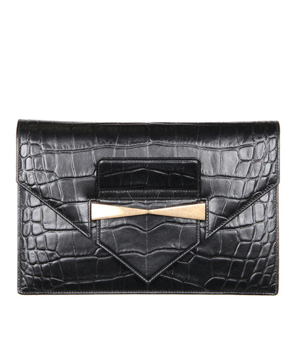 Legend Mock Croc Envelope Clutch, Black