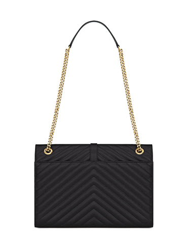 Large Monogram Chevron Flap Satchel (G), Black
