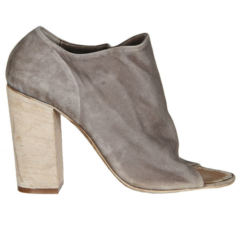 Peep Toe Block Mule Boot, Taupe
