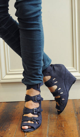 Multi-Buckle Wedge - Navy Snake