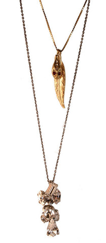 Double Chain Serpent Feather Necklace