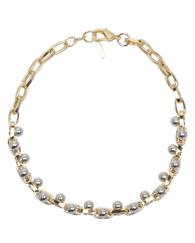 Double Row Choker w/Spheres, Gold/Rhodium