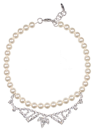 Mini Crystal Necklace w/pearls