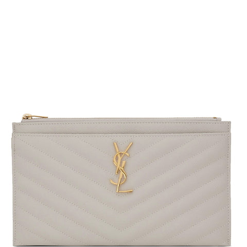 Monogram Bill Pouch, Cream/Gold