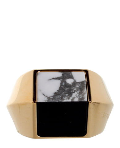 Opyum Bague Duo Ring, Onyx/Howlite