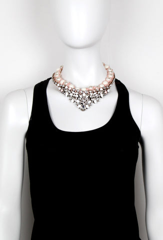 Theresa Cystal & Faux Pearl Necklace