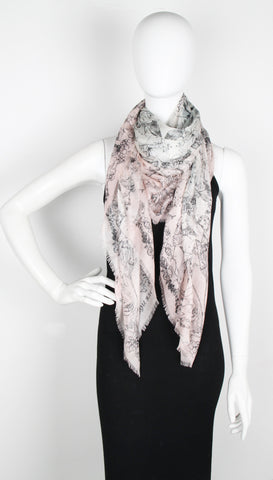 Paris Wallpaper Scarf Pashmina, Pink/Black