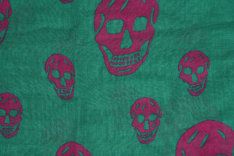 Classic Skull Scarf Pashmina, Green/Pink