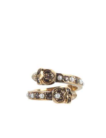Pearl Band Twin Skull Ring, Bronze