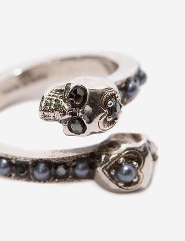 Pearl Band Twin Skull Ring, Silver