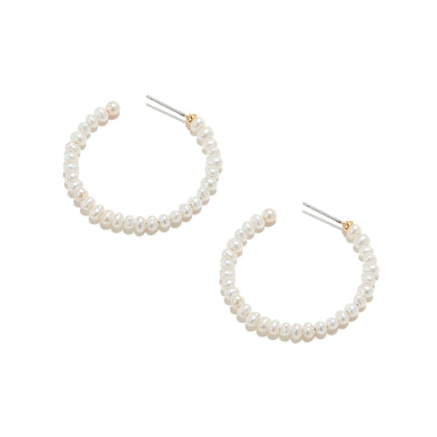 Freshwater Pearl Med Hoop Earrings