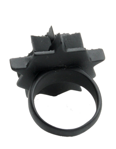 Pentagram Pave Ring, Matte Black