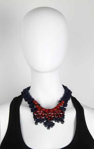 Picadilly Necklace, Blue & Garnet