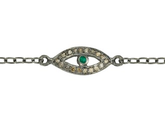Diamond & Tsavorite Eye Bracelet