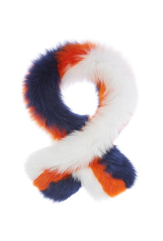 Pollypop Fox Scarf, White/Orange/Navy