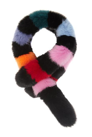 Popsicle Fox Stole, Black/Multi