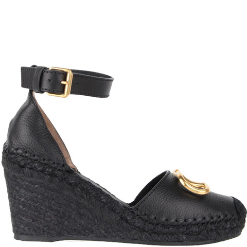 V Logo Espadrille Wedge, Black