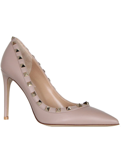 Rockstud Pump 100 Leather, Poudre