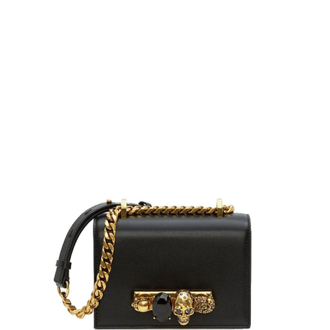 Jewelled Knuckle Satchel Mini Smooth, Black/Gold