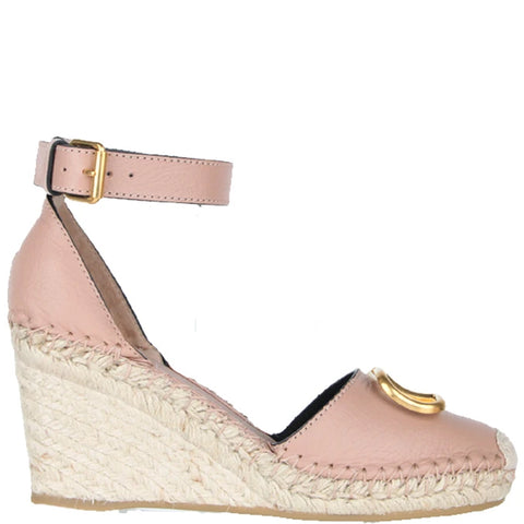 V Logo Espadrille Wedge, Rose